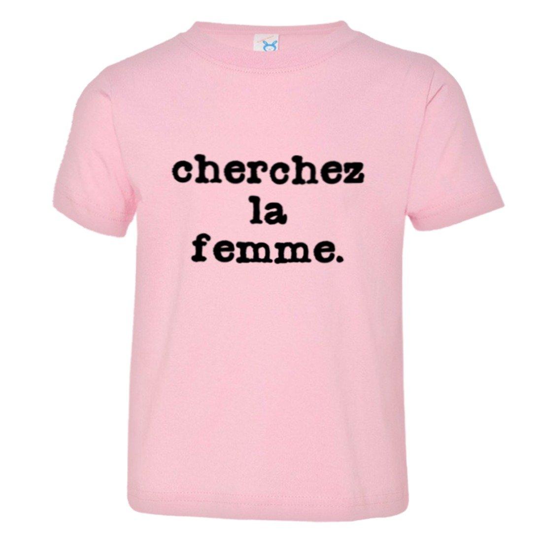 Toddler Cherchez LA Femme Classic French Logo HQ Tee Shirt