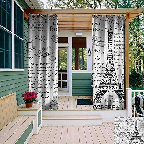leinuoyi Paris, Outdoor Curtain Pair, Traditional Famous Parisian Elements Bonjour Croissan Coffee Eiffel Tower Print, Outdoor Curtain for Gazebo W84 x L108 Inch Black White ()
