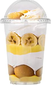 Stock Your Home 16 Oz Plastic Cups With Dome Lids (No Hole) - Parfait Cup With Lid (50 Count) - Leak-Proof And Disposable Dessert Cups - Clear Cups With Lids For Cold Drinks, Dessert, Fruit and Snacks
