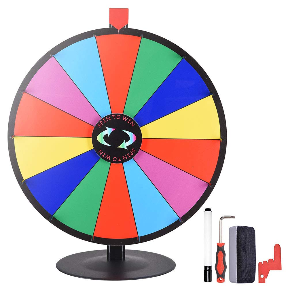 WinSpin 24'' 14 Slot Tabletop Color Dry Erase Prize Wheel +Stand Fortune Spinning Game Tradeshow