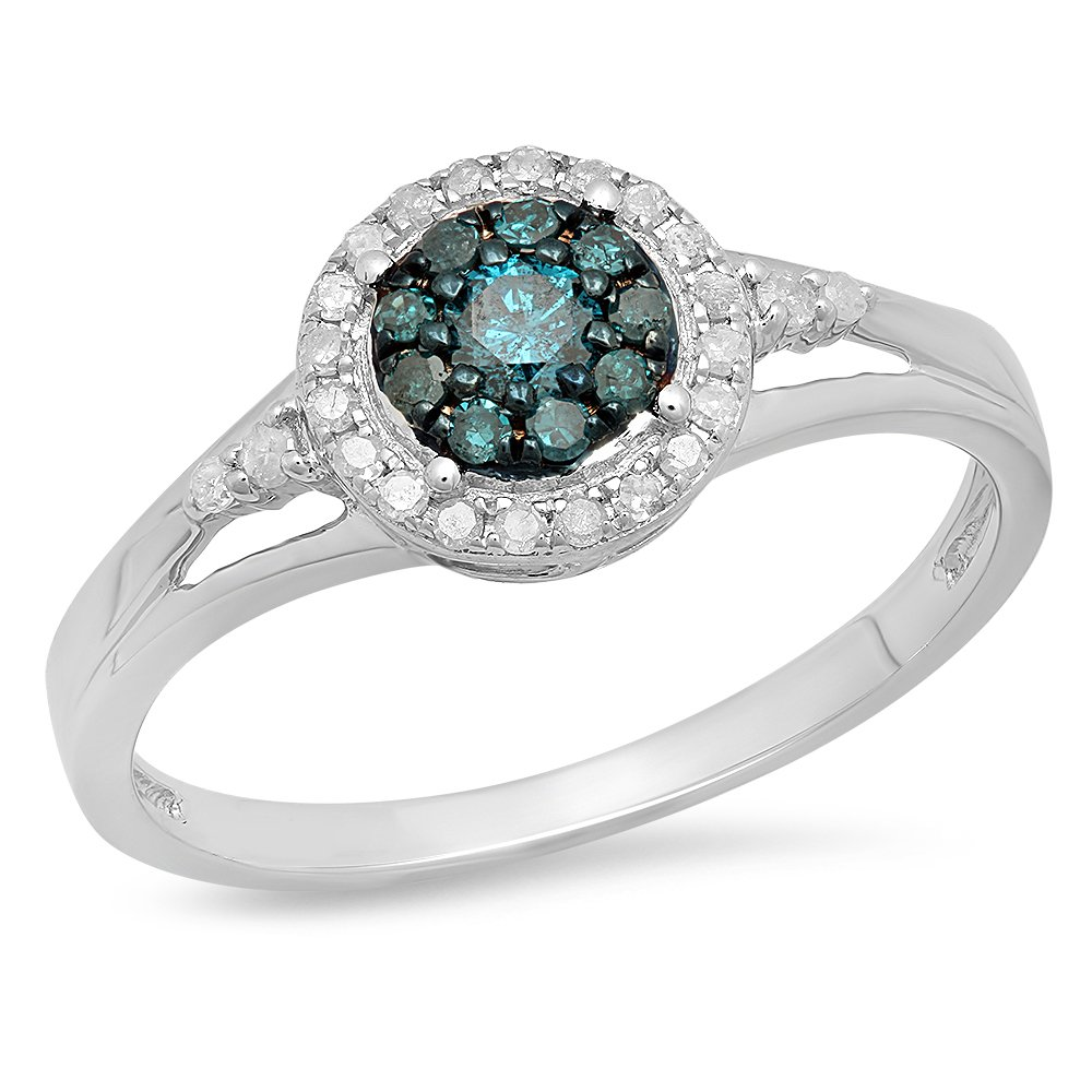 0.30 Carat (ctw) Sterling Silver Round White & Blue Diamond Engagement Ring 1/3 CT (Size 5.5)