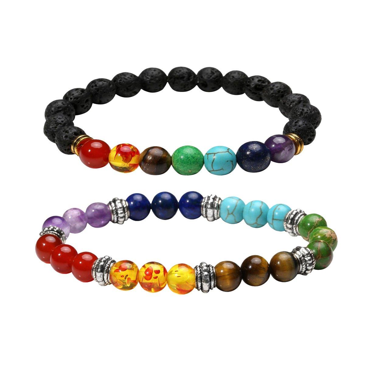 Eigso 7 Chakra Diffuser Bracelets Set for Women Men Reiki Healing Meditation Lava Rock Stone Beads