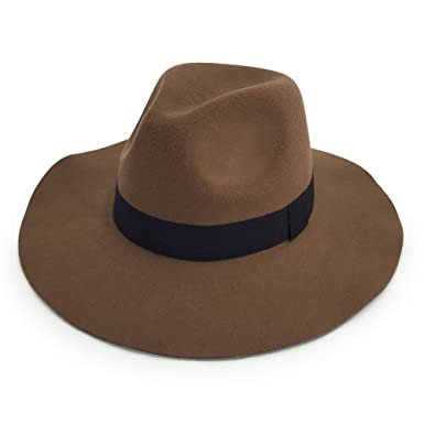 Men s   Women s Wide Brim Fedora Felt Hat With A Band (Dark Brown ... 71c39f586cd