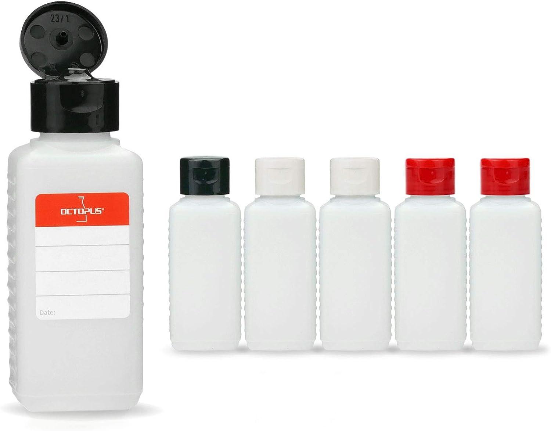 6 botellas de plástico de Octopus de 100 ml, botellas de plástico de HDPE con tapones abatibles de colores, botellas vacías con tapa abatible de colores, botellas rectangulares con 6 etiquetas para ma