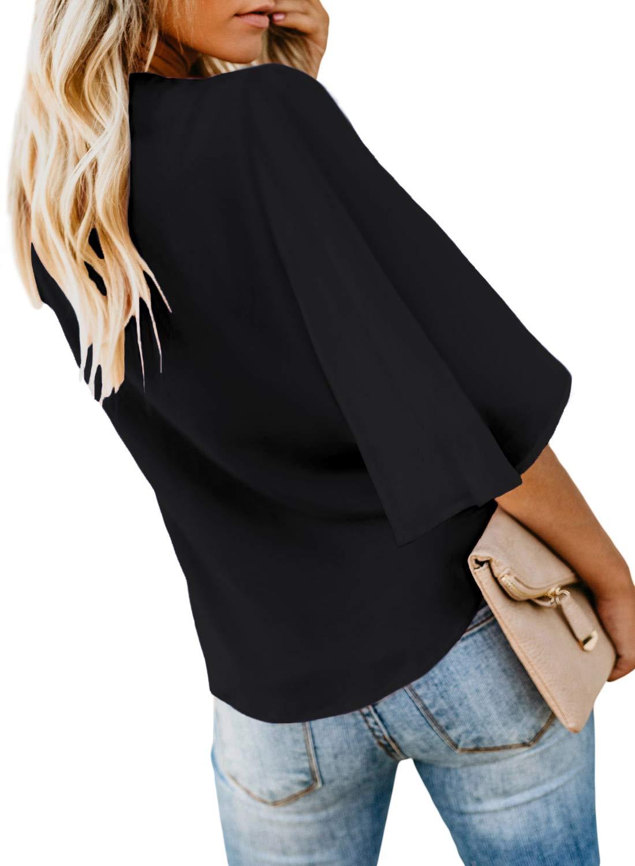 Asvivid kvinnor djup v-ringad knapp keps ärm slips knut avslappnad mode flödande blus skjorta toppar sommar 2020 5-svart