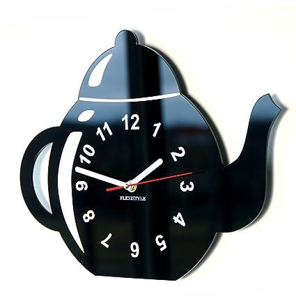 FLEXISTYLE Orologio da parete da cucina tazza LA BROCCA nera ...