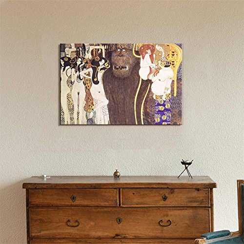 Beethoven Frieze The Hostile Forces by Gustav Klimt Print Famous Oil Painting Reproduction