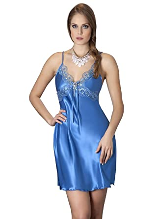 02cd1c03bc4 La Vergine - Déshabillé - Femme Bleu Bleu  Amazon.fr  Vêtements et  accessoires