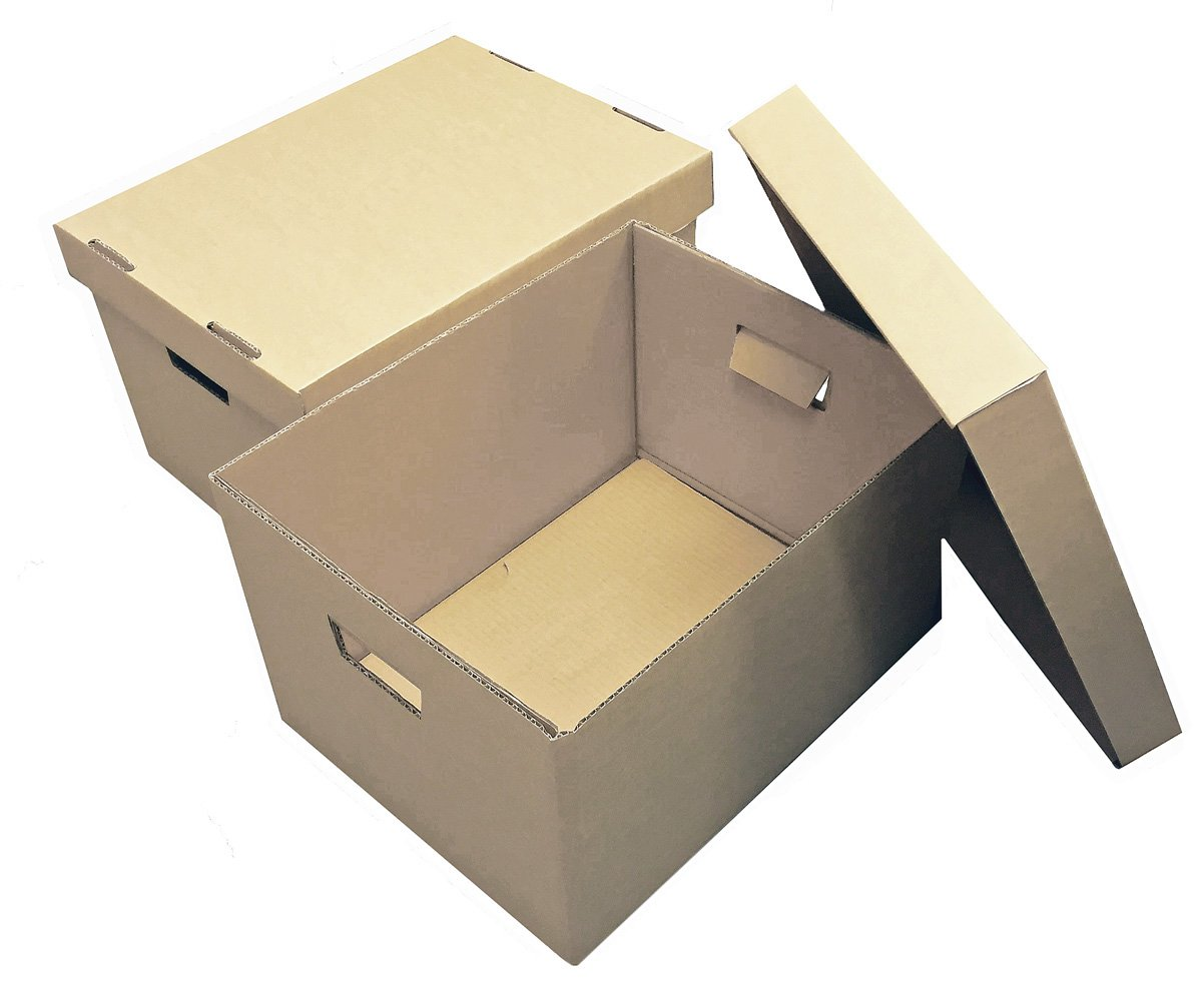 Storage Boxes - 375x278x260mm (14.75x11x10.25ins). Pack of 10 Strong Cardboard Boxes & Lids for Archiving/Filing. Easy to Carry with Hand Holes. Ideal for Storing or Moving Documents, Folders, Paperwork & Books. Flatpacked & Easily Assembled.