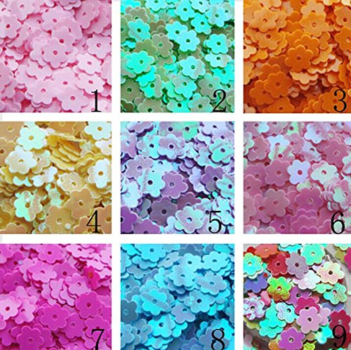 6mm Flower Shape SEQUINS Gold Silver Colors Red Blue Pink Purple Green Loose sequins for embroidery, applique, knitting, arts, crafts, and embellishment