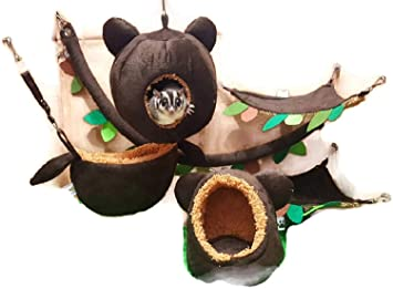 6 pieces/Set Cage Nest Set for Sugar Glider, Hamster, Squirrel, Marmoset, Chinchillas, Small Exotic Pet Cage Set Jungle Bear Style Dark Brown Color