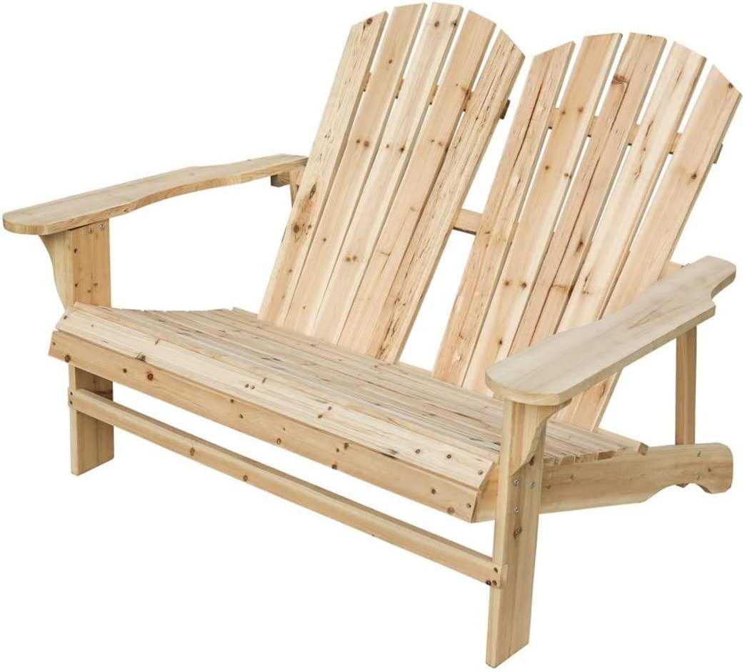 PatioFestival Wood Adirondack Chair Fir Wooden Chair with Natural Finish Outdoor Patio Chair for Garden,Yard,Patio,Lawn,Deck (50.4