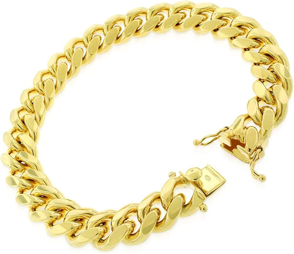7mm Miami Cuban Curb Link Italy Sterling Silver /& 14k Yellow Gold Chain Bracelet