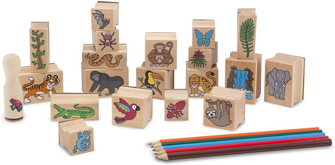 Melissa & Doug Stamp-a-Scene - Juego de sellos: Selva tropical (20 sellos de madera, 5 lápices de colores y almohadilla para estampar de 2 colores) , color/modelo surtido