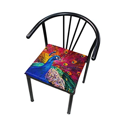 "Bardic HNTGHX Outdoor/Indoor Chair Cushion Peacock Oil Painting Square Memory Foam Seat Pads Cushion for Patio Dining, 16"" x 16"": Home & Kitchen"