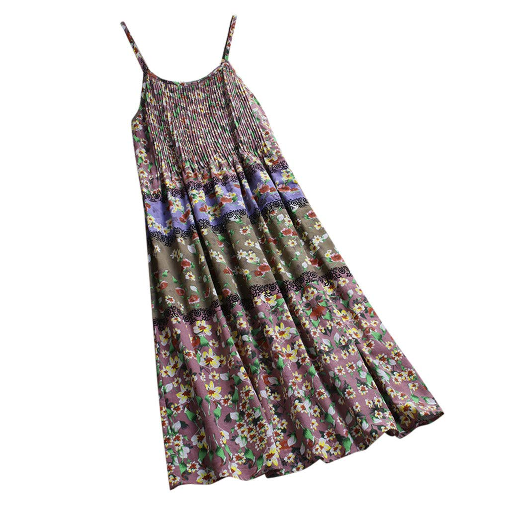 Lloopyting Women's V Neck Plain Dress Sleeveless Summer Dresses Print Breathable Loose Casual Short Sleeve T Shirt Dress by Lloopyting (Image #3)
