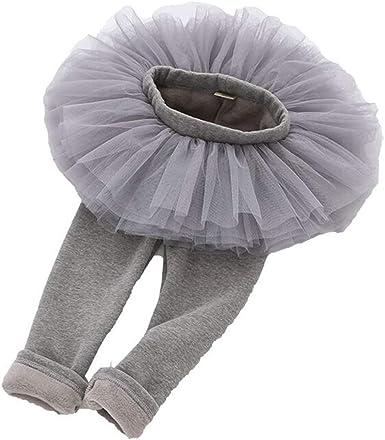 Leggings con Gonna Bambina Autunno Primavera Inverno Caldo Tutu Pantaloni per Bambini Lungo Pantacollant Danza
