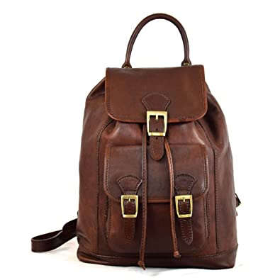 0abfbb49d0d7 Made In Italy Vegetable Tanned Leather Backpack With Front Pocket Color  Dark Brown Tuscan Leather - Prestige Line  Amazon.co.uk  Shoes   Bags