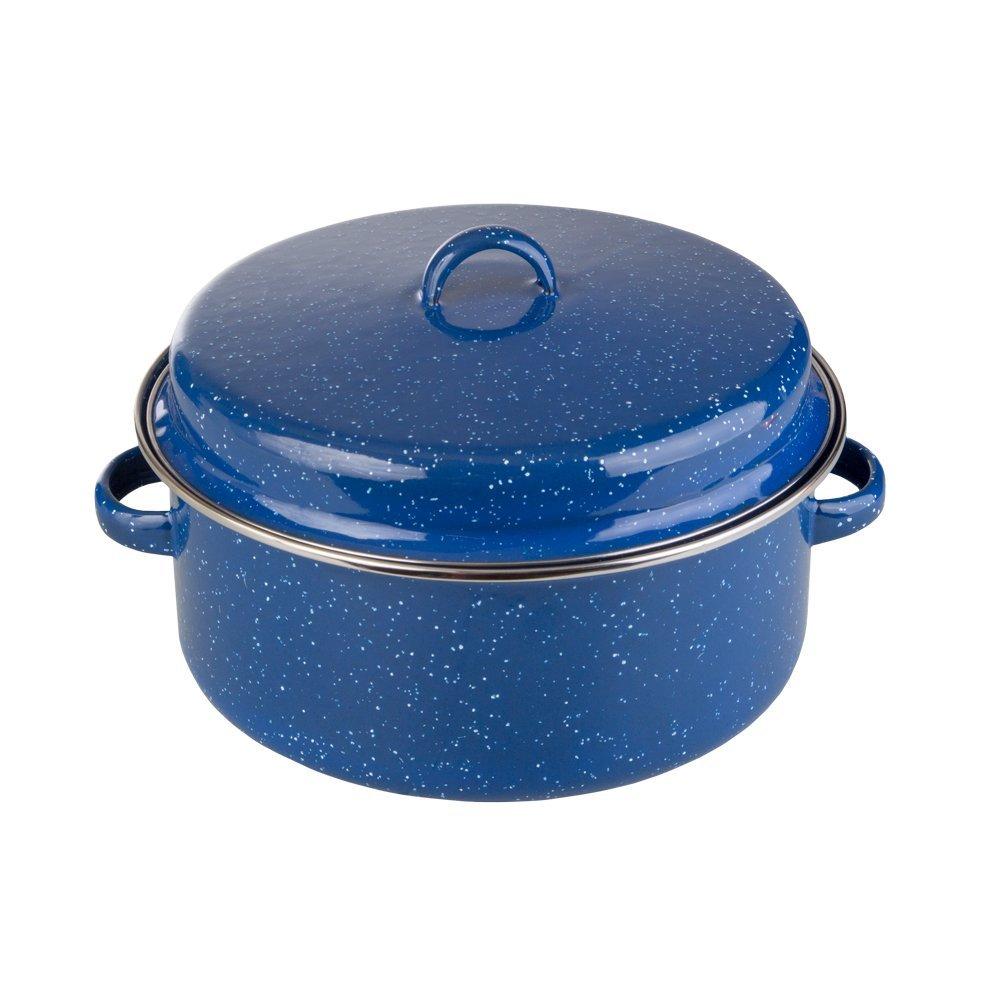 Stansport Enamel Cook Pot with Lid, 5 Quart, Blue/White
