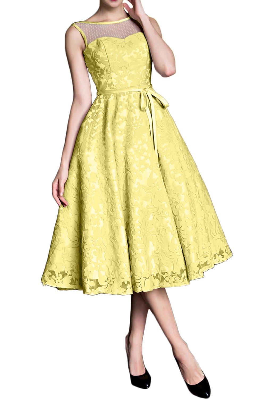 (ウィーン ブライド)Vienna Bride イブニングドレス セレブリティドレス パーティードレス ミモレ丈スカート カラードレス 一字型襟 ベアトップ 蝶結びベルト レース アップリケ 編み上げ ブルー グリーン ゴールド イエロー ノースリーブ ひだ B078HC4CCD 13|イエロー イエロー 13
