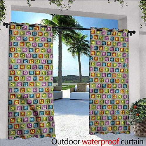 Sydney Clock Square (warmfamily Clock Balcony Curtains Sketch Style Square Watches Outdoor Patio Curtains Waterproof with Grommets W108 x L96)