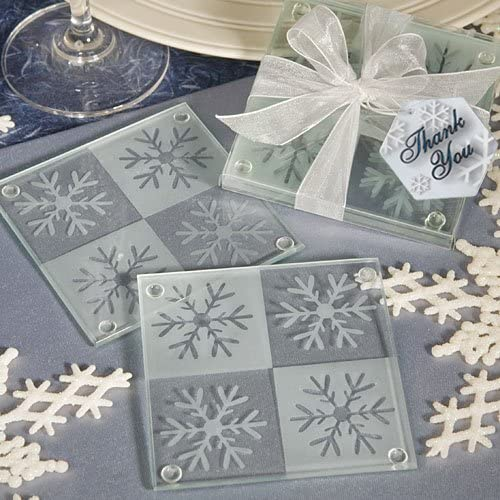 Glimmer Silver Round Frosted Shimmer Finish Glass Coaster Set of 4 Mat Home Deco