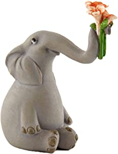 Top Collection Miniature Garden Elephant Statues (Elephant Holding Up Flowers)