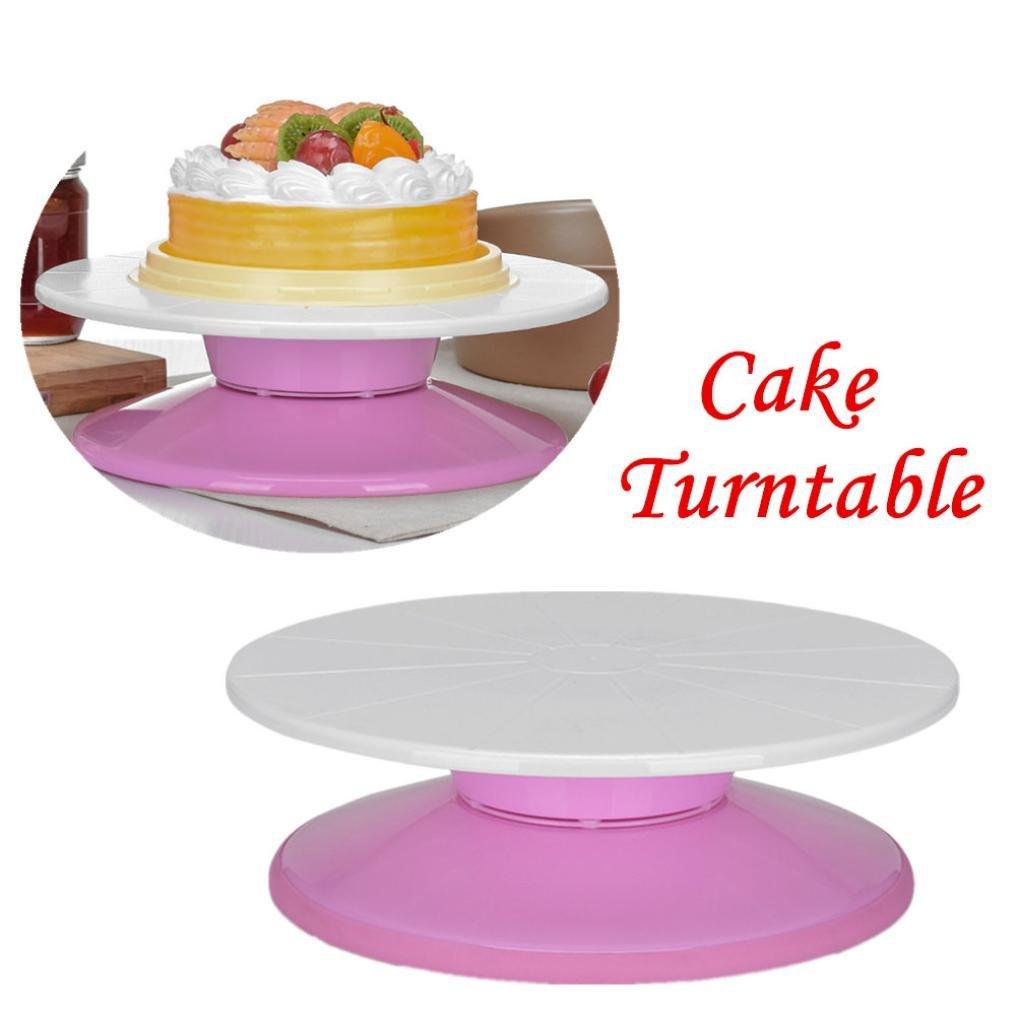 Cake Turntable, Transer 11'' Revolving Rotating Cake Decorating Stand (White)