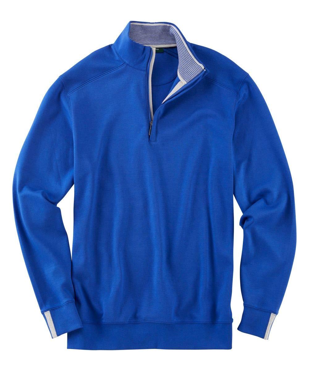 Bobby Jones Lux Pima Leaderboard Golf Pullover - Men's 1/4 Zip Pullover Golf Apparel Marine Blue by Bobby Jones