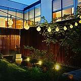 イルミネーション ソーラー ライト 飾り 30LED ソーラー充電式 ガーデンライト LED ストリングライト 2発光モード 夜間自動点灯 屋外 防水 耐熱 クリスマス 新年 結婚式 ボール型 全長6m Taotuo (ウォームホワイト)