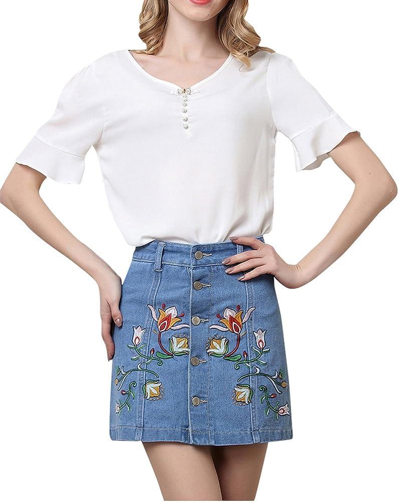Kasen Vaquero Mini Falda Jeans Cortas para Mujer Azul Claro S ...
