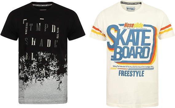 Tampered Apparels Camiseta de Hombre con Cuello Redondo en algodón Fazer y Estampado de Skate, Camisetas Casuales para Hombre, Camiseta para Hombre, Camiseta de Manga Media para Hombre: Amazon.es: Ropa y accesorios