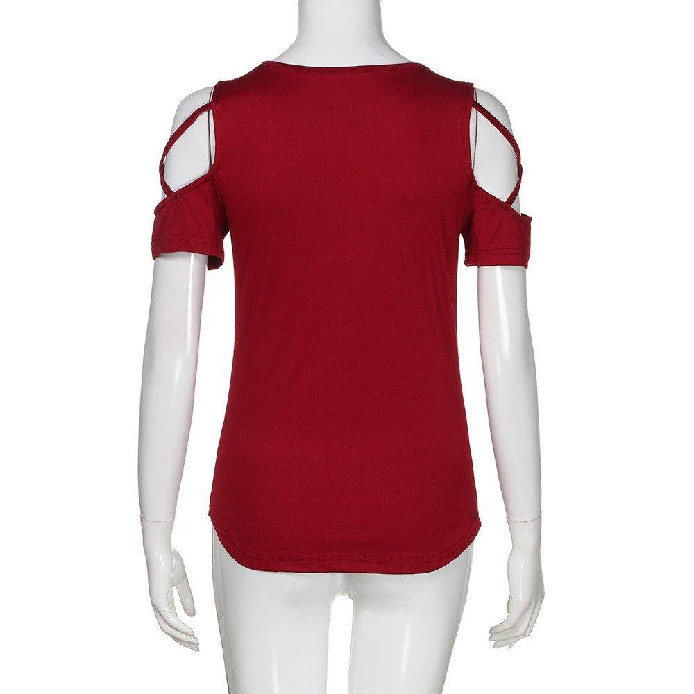 Sumeimiya Women Off Shoulder Dress,Ladies Summer Solid Dress Cross Short Sleeve T-Shirt Skirt Wine Red by Sumeimiya Dress (Image #4)