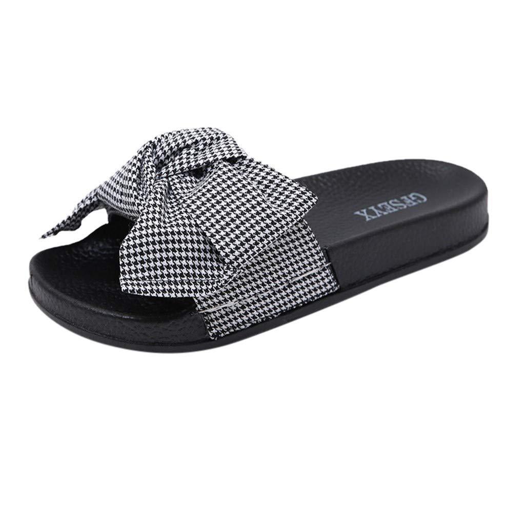 Garish  Women's Checkered Bow Design Sandals,Open Toe Shower Shoes Soft Anti Skid Sandals White