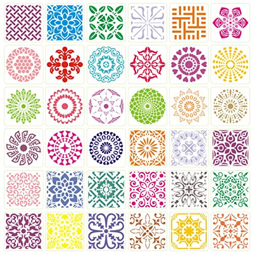 Painting Mandala Stencils, Reusable Dot Drawing Template for DIY-Decor, Wood, Airbrush, Rocks,Floor and Walls 35 Pack (6''x6'')