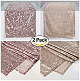 Zdada 2PCS Pack Rose Gold Christmas Buffet Table Runner,Champagne Bridal Shower Table Runner-12 x 108