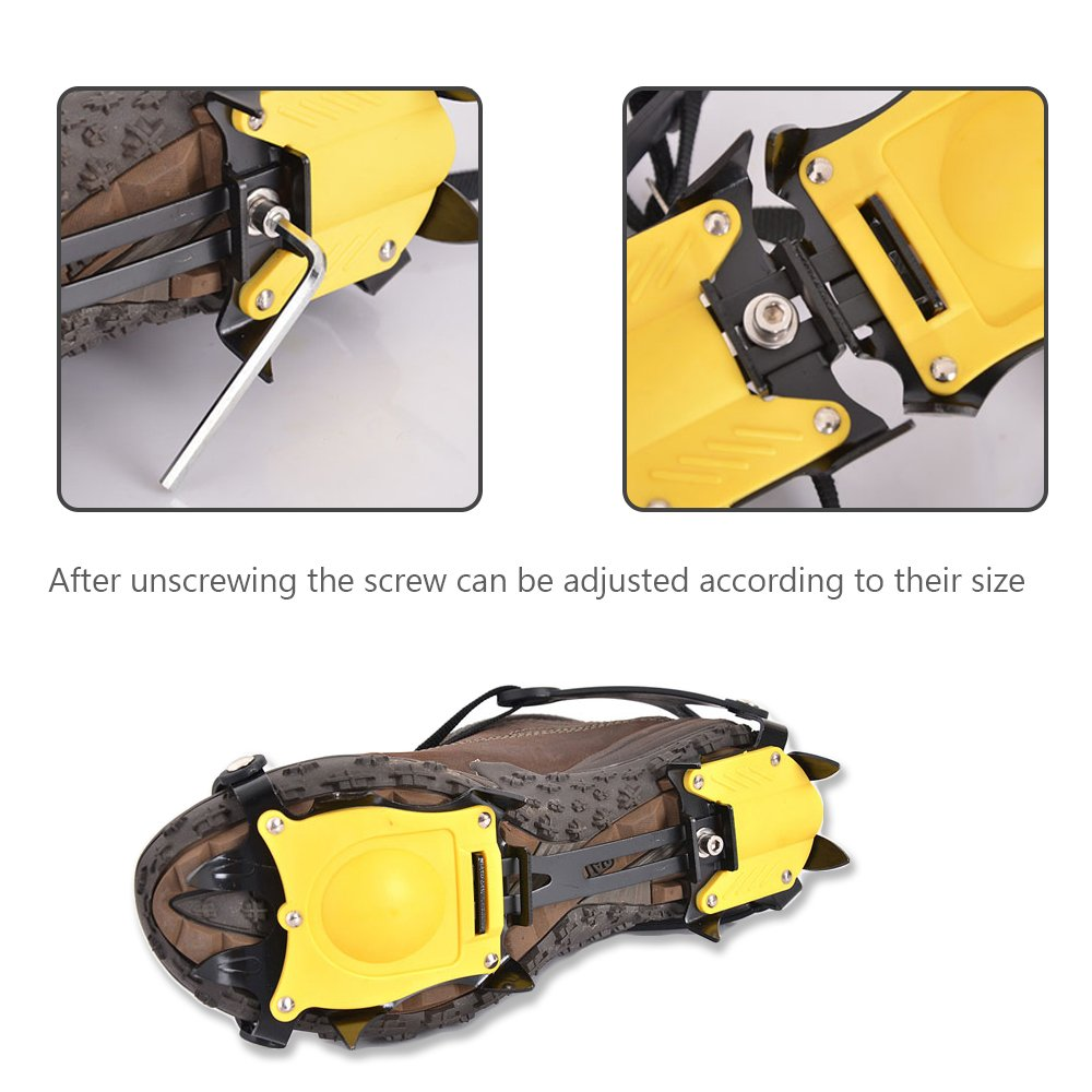 Snow Ice Grips 10-teeth Stainless Steel Crampons Ice Spikes for Shoes Cleat Ice Gripper Anti Slip Snow Ice Spikes Walking Shoe Spike Grip Ice Climb Snow Ice Traction Cleats Spikes for Shoes Boots
