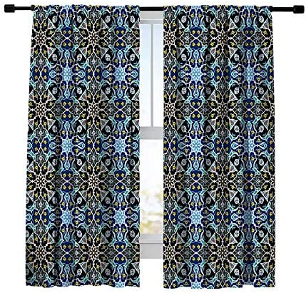 Misscc Thermal Insulated Blackout Curtains,Abstract Floral Seamless Ornamental Tile Background Window Curtains,Window Treatments Drapes