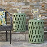 Ellen Nestable Outdoor Small and Large Iron Side Table Set (Set of 2) (Matte Green)