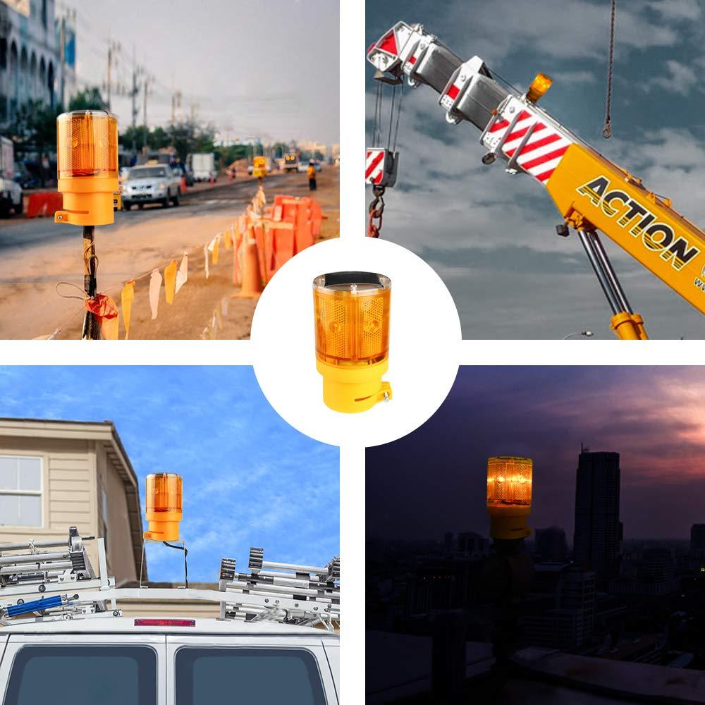 Sondiko Warning Light Solar Hazard Warning Lights with 6 LED Lights garden LED Strobe Beacon Light Construction Signs Flash Traffic Lights for traffic construction,crane tower,house