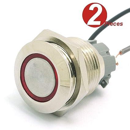 DollaTek 2Pcs 16mm 10A Interruptor momentáneo Botón pulsador ...