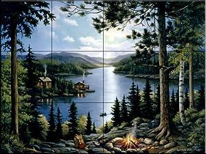 Ceramic Tile Mural   Cabin In The Woods   By John Zaccheo   Kitchen  Backsplash / Bathroom Shower
