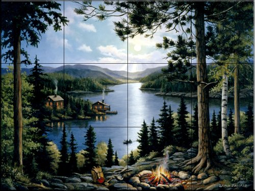 Cheap  Ceramic Tile Mural - Cabin in the Woods - by John Zaccheo..