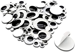 TOAOB 100 Pieces Wiggle Googly Eyes with Self Adhesive Round Black 6mm to 35mm Assorted Sizes Sticker Eyes for DIY Crafts Scrapbooking Decoration