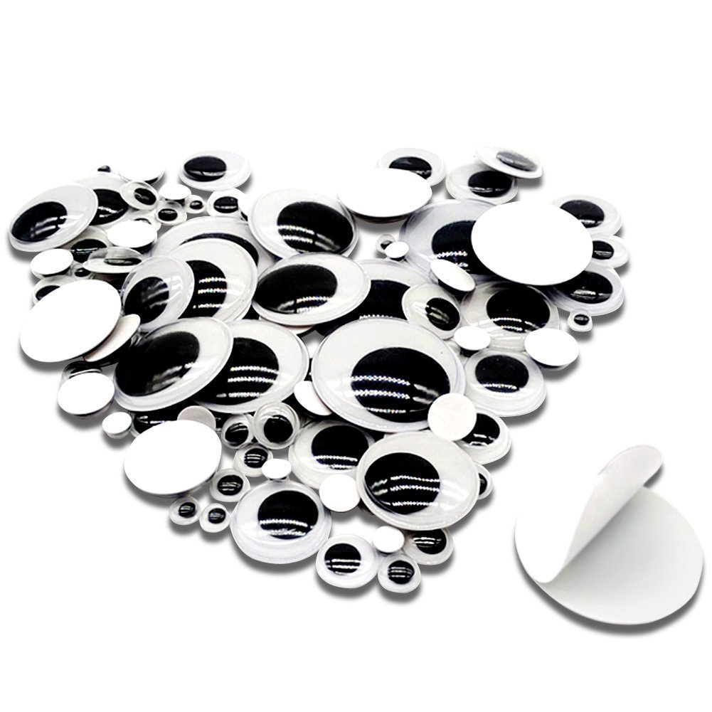 TOAOB 100 Pieces 6mm to 35mm Assorted Size Mixed Plastic Wiggle Googly Eyes with Self adhesive DIY Scrapbooking Crafts Toy Accessories US-toaobKBYN0019