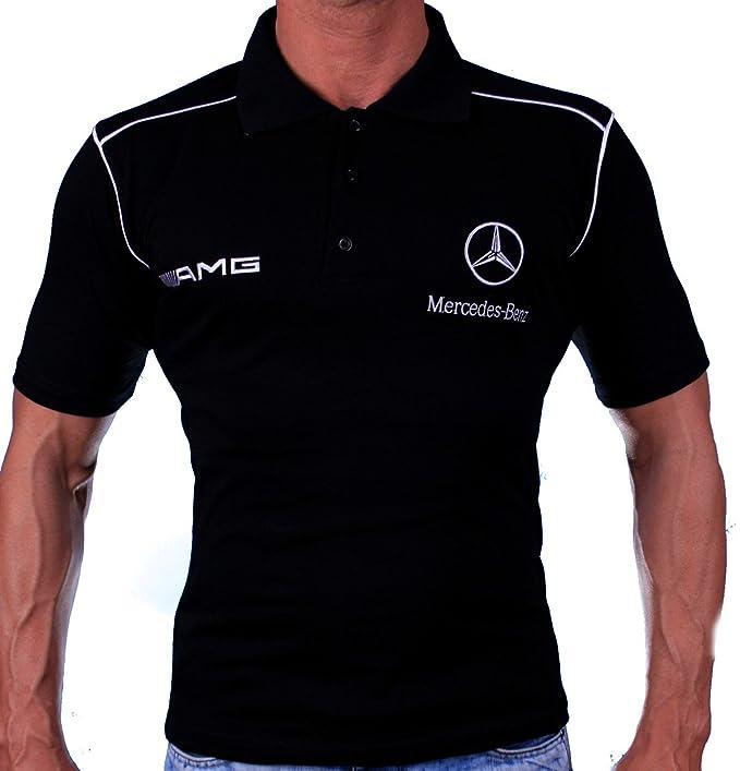 Mercedes BORDADO T-SHIRT COLLAR LOGO Benz AMG Hombre Negro ...