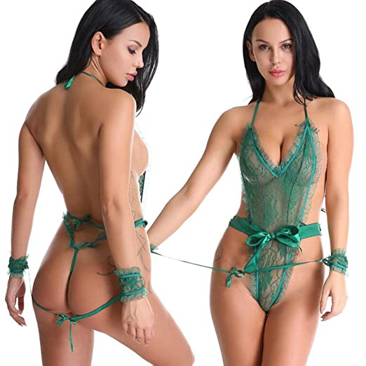6ad0ab58d0 Women Sexy Lingerie Mesh Intimates Underwear Set Off Shoulder Bra Mini  Skirt Uniform (Green