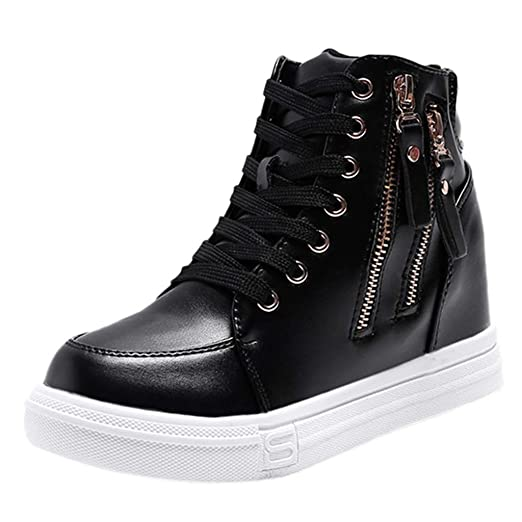 a2a0b5d5efcc Amazon.com  Women Wedge Heel Leather High Top Sneakers