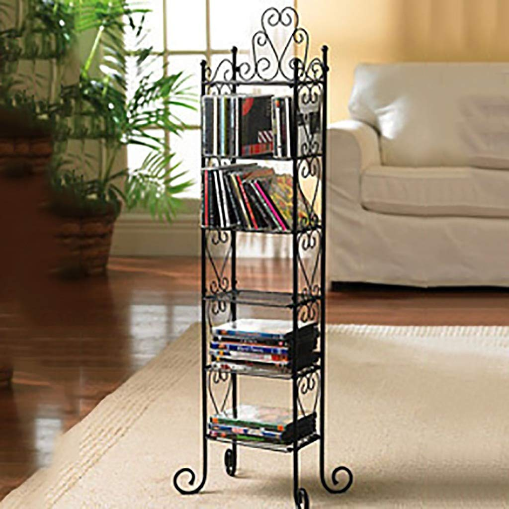 GWXJZ CD DVD Racks Simple Modern Black CD Holder Iron Storage Shelf Storage Rack by GWXJZ