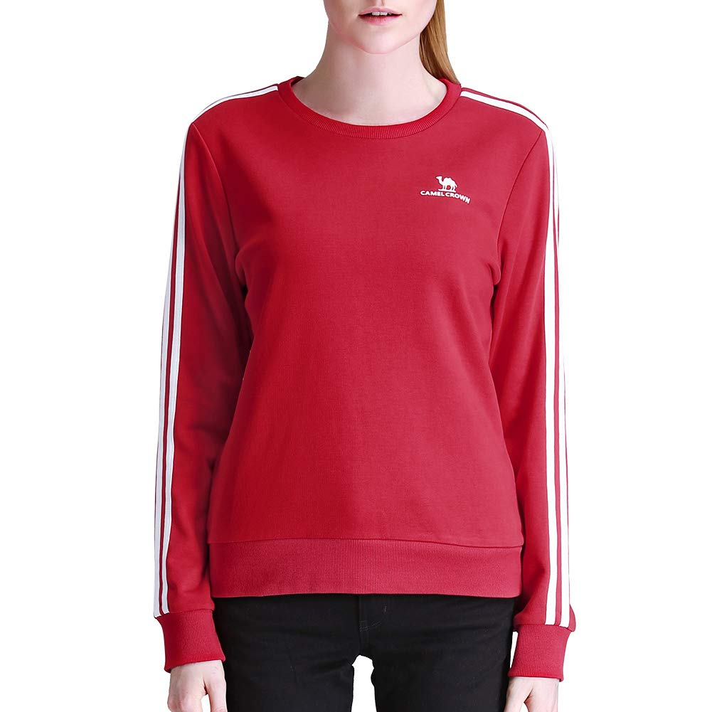 CAMEL CROWN Woman's Pullover Sweatshirt Casual Fashion Teens Sports Crewneck Striped Cotton Shirts for Girls